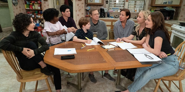 THE CONNERS - The Conners reunited with the official start of production today on the Warner Bros. lot. (ABC/Eric McCandless)SARA GILBERT, JAYDEN REY, MICHAEL FISHMAN, AMES MCNAMARA, JOHN GOODMAN, LAURIE METCALF, LECY GORANSON, EMMA KENNEY
