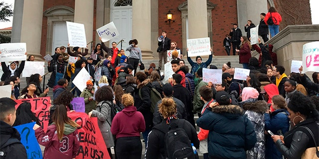 April 18, 2018: Syracuse University students gather outside Hendricks Chapel to protest a video made by members of a now-suspended fraternity.