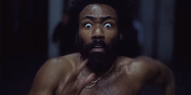 "Childish Gambino in his music video for ""This Is America."""