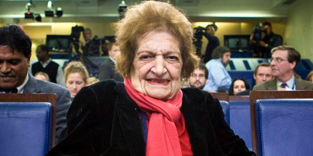 Hearst columnist Helen Thomas, the former dean of the White House Press Corps, in the White House briefing room.