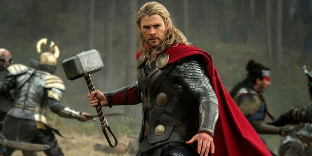 This publicity file photo released by Walt Disney Studios and Marvel shows Chris Hemsworth in a scene from 'Thor: The Dark World.'