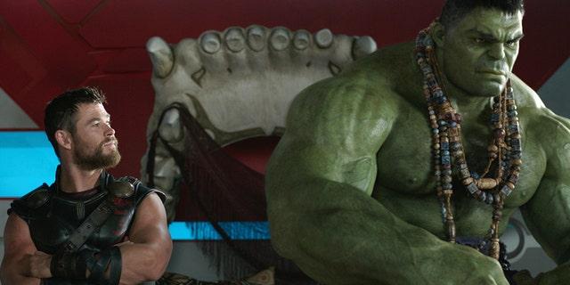 "Thor (Chris Hemsworth) and Hulk (Mark Ruffalo) in ""Thor: Ragnarok."""