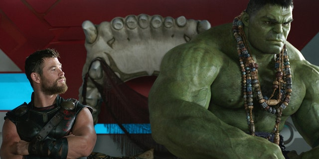 "Thor (Chris Hemsworth) and Hulk (Mark Ruffalo) in ""Thor: Ragnarok."""
