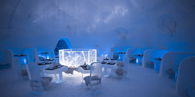 Guests can also dine at the SnowVillage's Ice Restaurant, and drink at the Ice Bar.