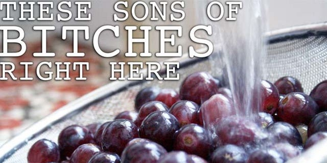 A typical message-with-attitude on Thug Kitchen's site about grapes.