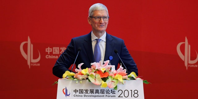Apple CEO Tim Cook speaks at the China Development Forum in Beijing on Saturday.