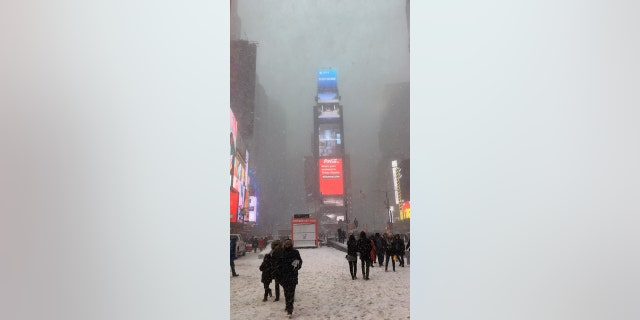 Times Square NYC winter snowstorm January 4th 2018