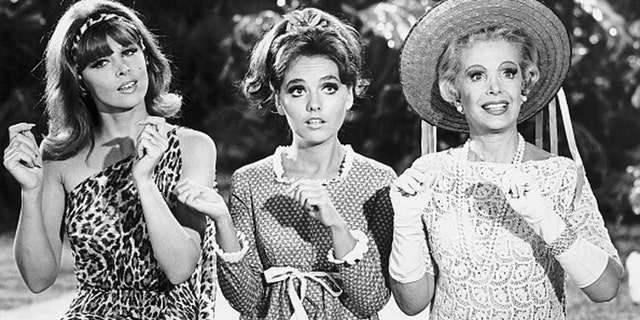 "Tina Louise (left), Dawn Wells and Natalie Schaefer on ""Gilligan's Island."""