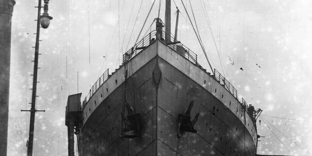February 1912: The ill-fated White Star liner, the 'Titanic' at Harland and Wolff's shipyard, Belfast. (Photo by Topical Press Agency/Getty Images)