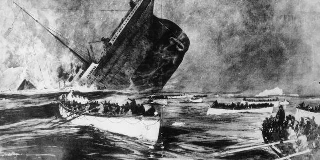Survivors watch from the lifeboats as the ill-fated White Star liner, the Titanic, plunges beneath the waves. Original Publication: Illustrated London News, 1912.