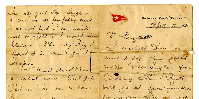 Rare Titanic love letter up for auction offers insight into