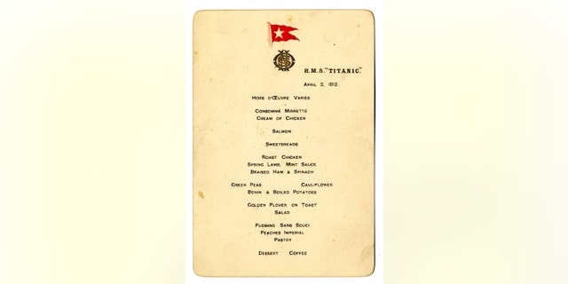 Second Officer Charles Lightoller, the highest ranking surviving officer from the Titanic, gave the menu to his wife as a souvenir as he departed from Southampton on April 10, 1912.