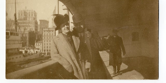 An original photograph of Holverson and his wife leaving for South America prior to their journey on Titanic (Henry Aldridge & Son)