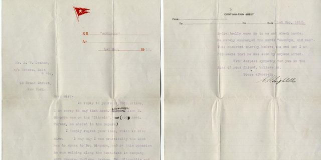 Charles Lightoller's letter (Henry Aldridge & Son).