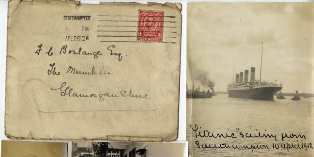 The original mailing envelope that contained the Titanic images, postmarked from Southampton on April 26 1912, and other artifacts included in the lot (Henry Aldridge & Son).