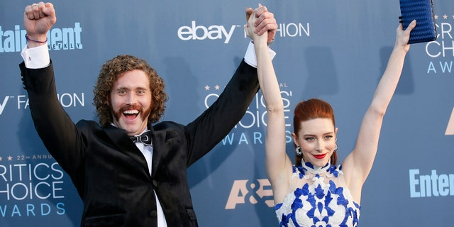 T.J. Miller with his wife Kate Gorney on the carpet at the 22nd Annual Critics' Choice Awards in Santa Monica on December 11, 2016.