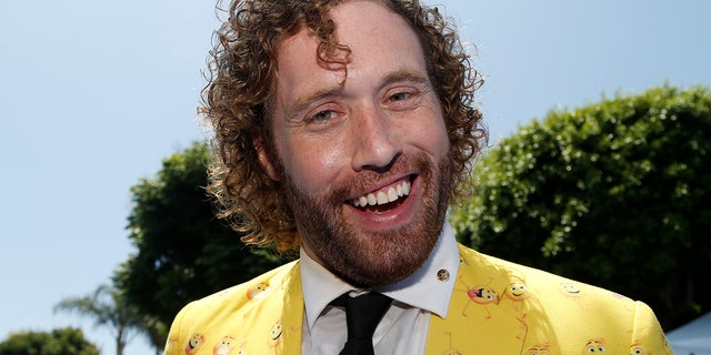 """Cast member T.J. Miller attends the premiere for """"The Emoji Movie"""" in Los Angeles, California, U.S., July 23, 2017."""