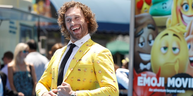 "T.J. Miller attends the premiere for ""The Emoji Movie"" in Los Angeles on July 23. 2017."