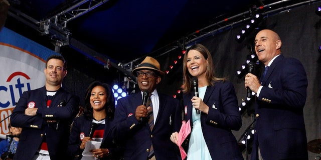 NBC's 'Today' show anchors from-left; Carson Daly, Sheinelle Jones, Al Roker, Savannah Guthrie and Matt Lauer.