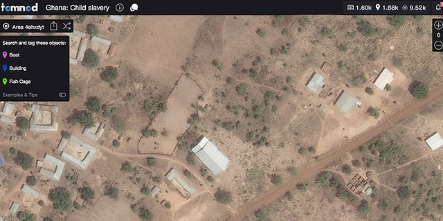 Tomnod started the search campaign with the Global Fund to End Slavery  to track and log every boat, fish cage and building along Lake Volta for the first reliable estimate of child slavery in the region. (Image provided by DigitalGlobe © 2015)
