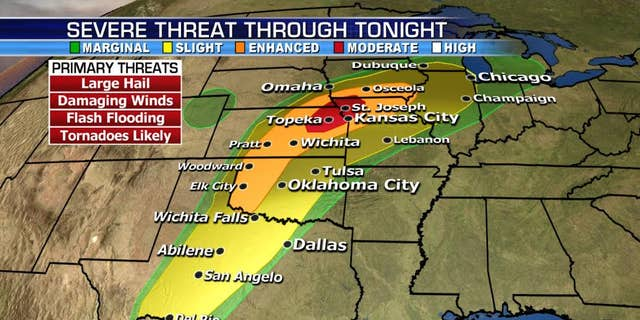 The threat for large hail, damaging winds, and potentially violent tornadoes continues Wednesday across the Central Plains.