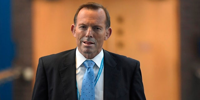 Australia's former Prime Minister Tony Abbott attends Britain's annual Conservative Party Conference in 2016.