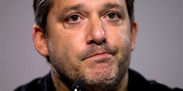Aug. 29, 2014: In this photo, NASCAR auto racing driver Tony Stewart reads a statement during a news conference at Atlanta Motor Speedway in Hampton, Ga.
