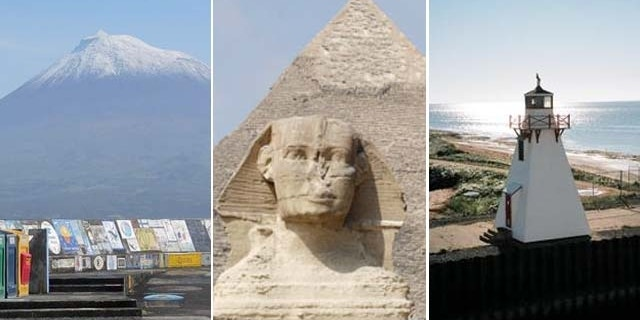 Mount Pico in the archipelago of the Azores, a pyramid and the Sphinx in Egypt and a light house on Prince Edward Island in Canada.