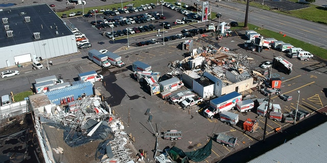 This aerial photo taken on Thursday, June 14, 2018 shows damage after Wednesday's severe weather system passed through Wilkes-Barre Township, Pa.