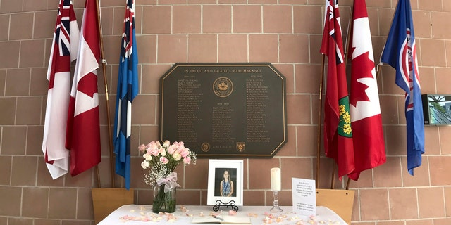 A memorial to Julianna Kozis assembled by the city of Markham is seen at the Markham Civic Centre.