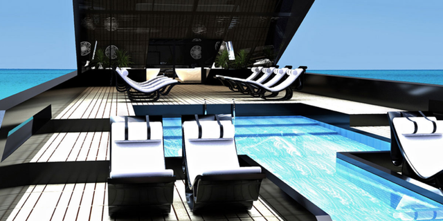 A view of the sundeck and swimming pool.