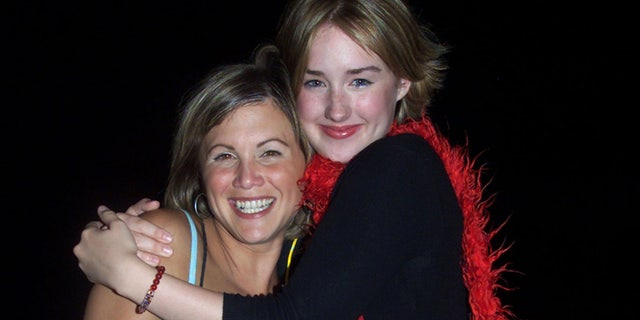 """Actresses Tracey Gold (L) and Ashley Johnson, who appeared as youngsters on the series """"Growing Pains,"""" and who will be featured in """"Growing Pains: A Reunion"""" later this Fall, pose as they arrive at ABC's Summer press tour party, July 17 in Pasadena. The party introduced the stars of ABC's fall televison season to tv writers from around the United States.FSP/HB - RTR15J8A"""