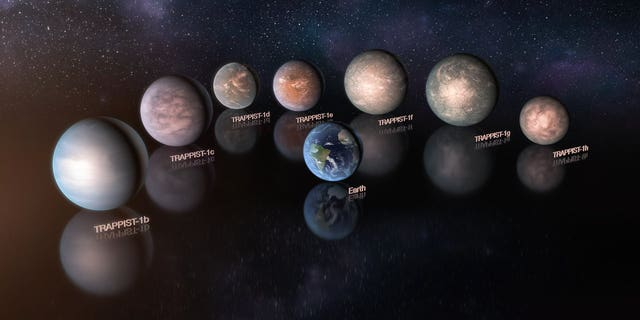 An artist's impression of the seven planets of the TRAPPIST-1 system. Most are rich in volatile materials such as water.