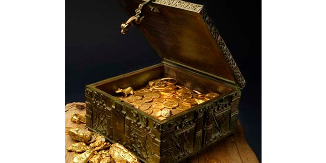 This undated photo provided by Forrest Fenn shows an estimated $2 million of gold jewelry and other artifacts that Fenn has hidden for treasures hunters to find. Thousands have set off into the wilds of the West in search for Forrest Fenn's cache of gold, jewelry and artifacts.