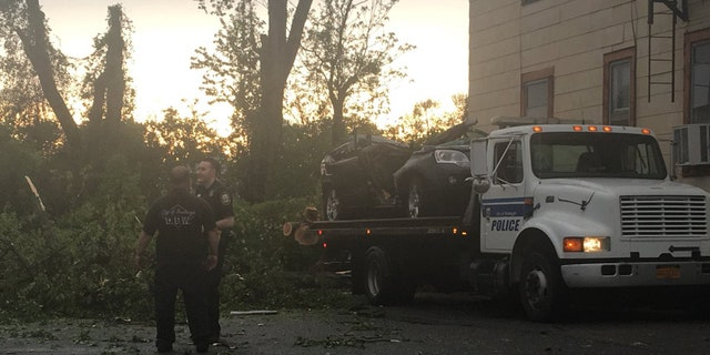 A tree fell onto a vehicle and killed an 11-year-old girl during Tuesday's storm in Newburgh, N.Y.