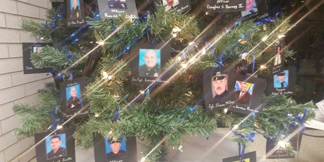a closeup look at the tree - Police Officer Christmas Decorations