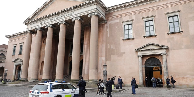 This photo shows the Copenhagen City Council which holds the penultimate hearing in the case against Peter Madsen, in Copenhagen, Denmark Monday, April 23, 2018.