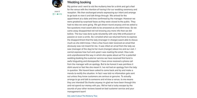 Restaurant calls bride-to-be a 'cow' in email sent to her by