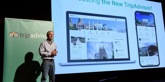 TripAdvisor CEO Steve Kaufer introduces the new TripAdvisor travel feed on Sept. 17, 2018, in New York City.