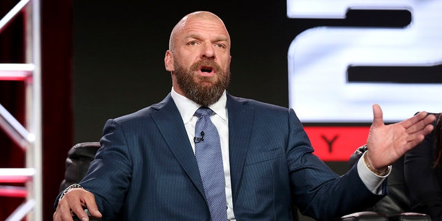 "Paul ""Triple H"" Levesque participates in the ""WWE Monday Night Raw: 25th Anniversary"" panel during the NBCUniversal Television Critics Association Winter Press Tour on Tuesday, Jan. 9, 2018, in Pasadena, Calif. (Photo by Willy Sanjuan/Invision/AP)"