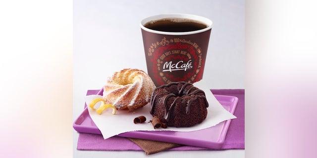 Digital Menuboard frame image: (2) Mini Bundt pastries on purple tray, small McCafe Coffee behind tray