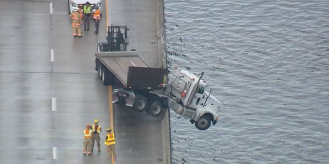 Authorities said the truck driver got out safely and there were no reports of injuries.