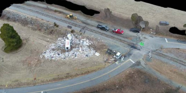 The wreckage of a truck after it was struck at a crossing by a train carrying Republican members of Congress in Virginia.