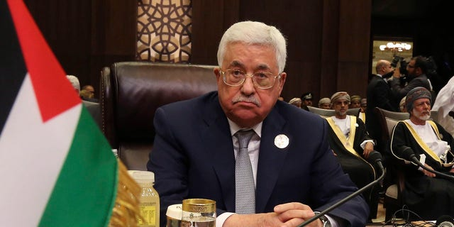 In this March 29, 2017 file photo, Palestinian President Mahmoud Abbas attends theArab League summit, at the Dead Sea, Jordan.