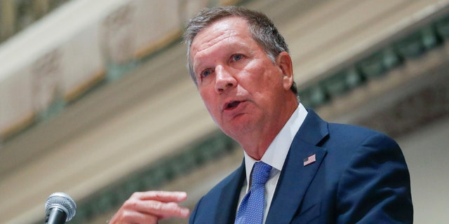 FILE - In this Aug. 25, 2016, file photo, Ohio Gov. John Kasich speaks in Cincinnati. Kasich on Dec. 6, advised state electors not to vote for him in an anti-Donald Trump protest. Kasich, a Republican who ran unsuccessfully for president, told The Associated Press Tuesday he is not a candidate for president, the election was held and Trump was the winner.(AP Photo/John Minchillo, File)