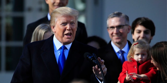 President Donald Trump speaks to participants of the annual March for Life event, in the Rose Garden of the White House.
