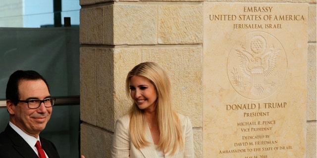 Ivanka Trump and Treasury Secretary Steven Mnuchin at the opening of the U.S. Embassy in Jerusalem.