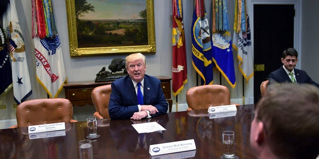 Nov. 28, 2017: President Trump sits next to empty seats where Democratic leaders would have been if they hadn't skipped a White House meeting.