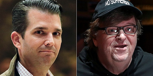 Donald Trump Jr., is seen at left (Reuters); Michael Moore at right (AP)