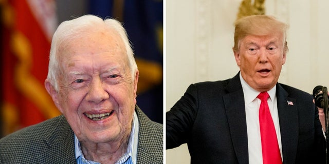 """Jimmy Carter criticized President Trump in a recent interview, saying he thought the commander in chief was a """"disaster in human rights and taking care of people and treating people equal."""""""